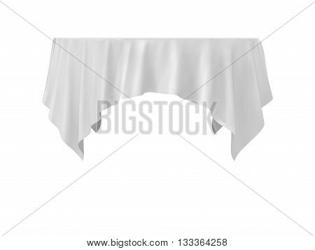 Vector Empty Round Tablecloth Isolated on White Background