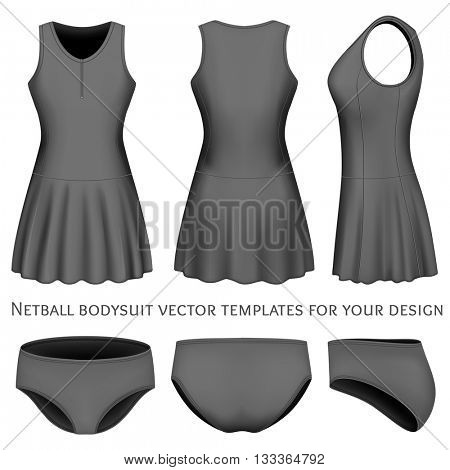 Netball bodysuit vector templates for your design. Fully editable handmade mesh. Vector illustration.