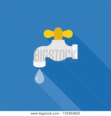 water tab icon with droplet of water, flat design tab vector, faucet illustration