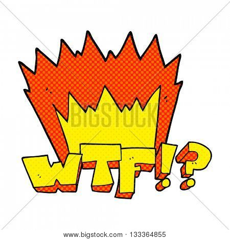 freehand drawn comic book style cartoon WTF symbol