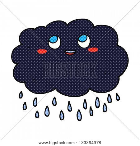 freehand drawn comic book style cartoon raincloud