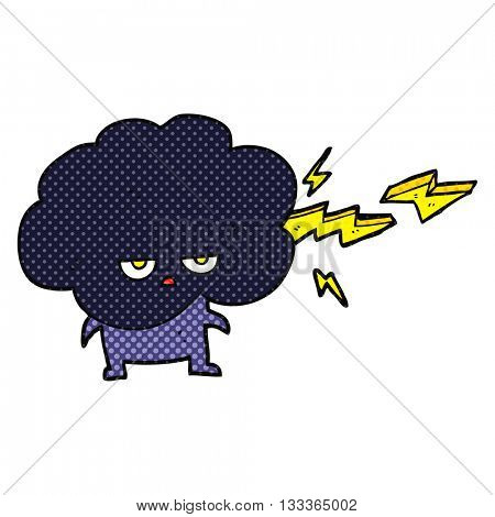 freehand drawn comic book style cartoon raincloud character shooting lightning