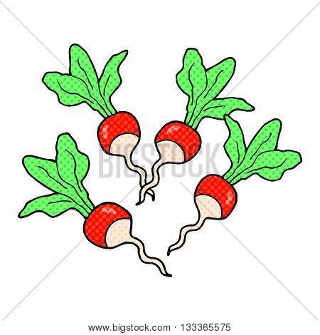 freehand drawn comic book style cartoon radishes