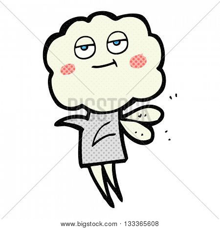 freehand drawn comic book style cartoon cute cloud head imp