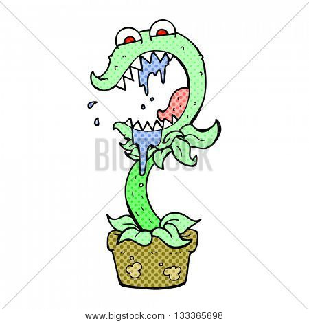 freehand drawn comic book style cartoon carnivorous plant