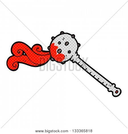 freehand drawn comic book style cartoon medieval mace