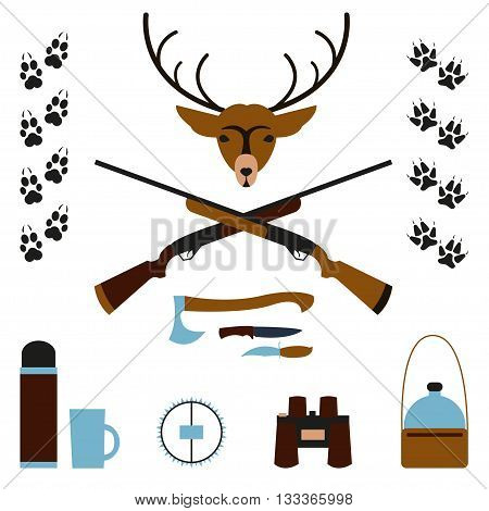 Hunting. Vector illustration Set for hunting. Deer head axe hunter knives trap canteen and binoculars animal tracks. Subjects for hunting on a white background. Flat design