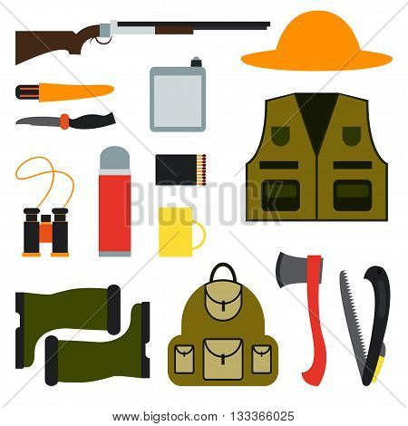 Hunting. Vector illustration Set for hunting. Clothes of a hunter gun equipment for hunting and camping. Subjects for hunting on a white background. Flat design