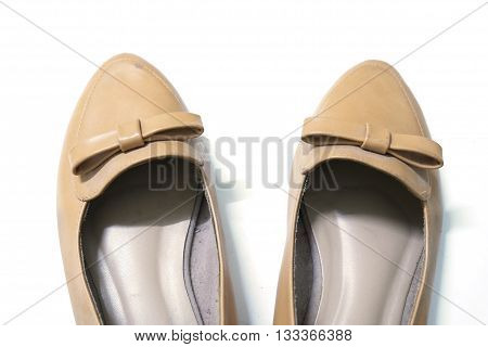 woman brown shoes isolated on white background