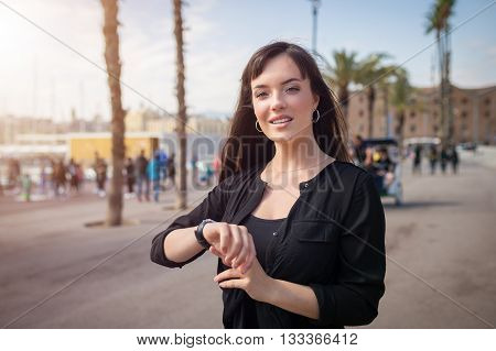 Sensual Woman On The Boulevard