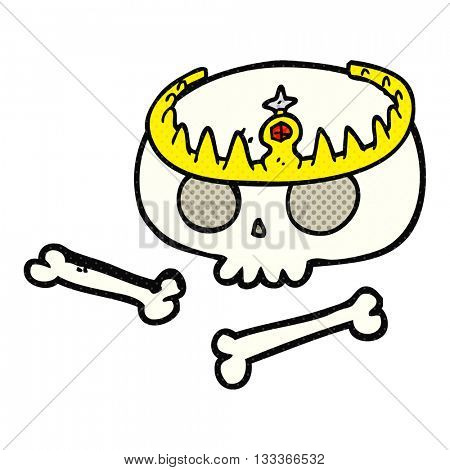 freehand drawn comic book style cartoon skull wearing tiara