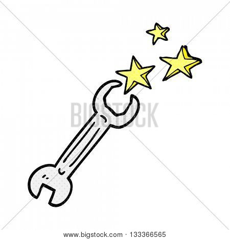 freehand drawn comic book style cartoon spanner