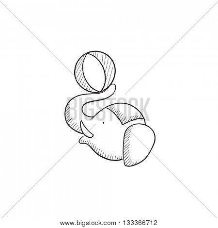 Circus elephant playing with ball vector sketch icon isolated on background. Hand drawn Circus elephant icon. Circus elephant playing with ball sketch icon for infographic, website or app.