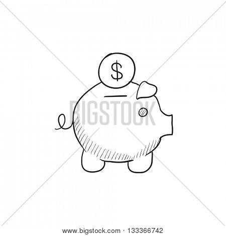 Piggy bank with dollar  vector sketch icon isolated on background. Hand drawn Piggy bank with dollar  icon. Piggy bank with dollar  sketch icon for infographic, website or app.