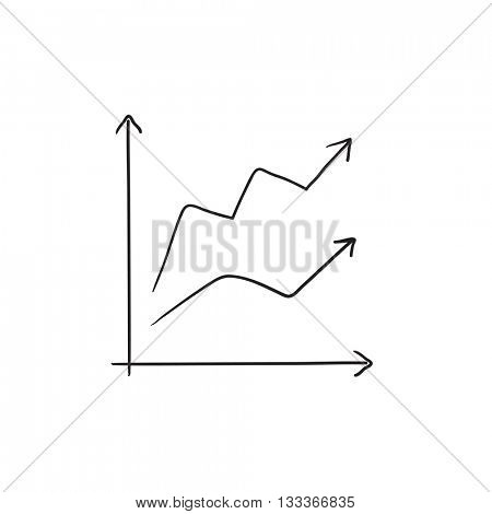 Growth graph vector sketch icon isolated on background. Hand drawn Growth graph icon. Growth graph sketch icon for infographic, website or app.