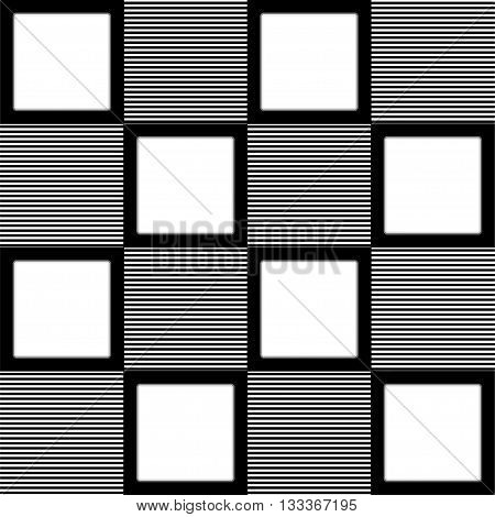 Monochrome pattern of striped squares and white squares. Checkered vector seamless pattern