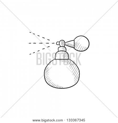 Perfume bottle spraying vector sketch icon isolated on background. Hand drawn Perfume bottle spraying icon. Perfume bottle spraying sketch icon for infographic, website or app.