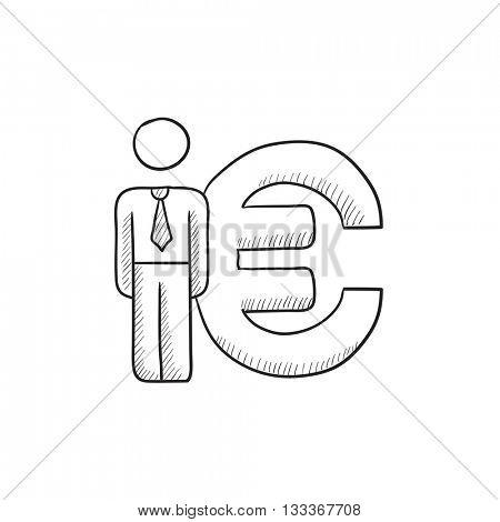 Businessman standing near Euro symbol vector sketch icon isolated on background. Hand drawn Businessman near Euro symbol icon. Businessman near Euro symbol sketch icon for infographic, website or app.