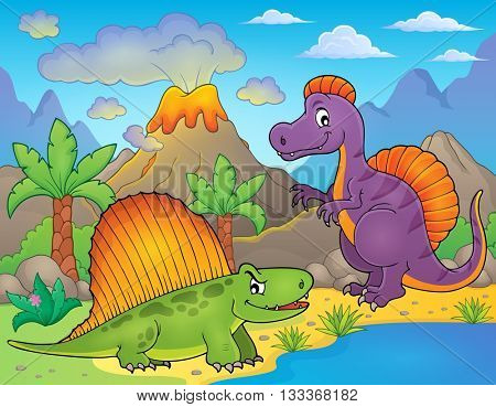 Image with dinosaur thematics 1 - eps10 vector illustration.