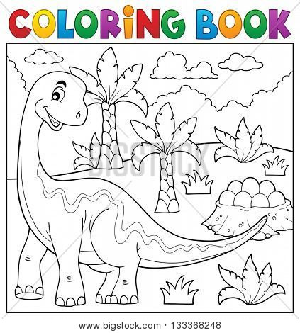 Coloring book dinosaur topic 6 - eps10 vector illustration.