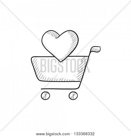 Shopping cart with heart vector sketch icon isolated on background. Hand drawn Shopping cart with heart icon. Shopping cart with heart sketch icon for infographic, website or app.