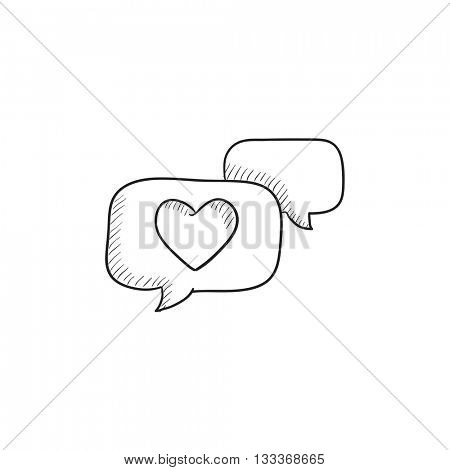 Heart in speech bubble vector sketch icon isolated on background. Hand drawn Heart in speech bubble icon. Heart in speech bubble sketch icon for infographic, website or app.