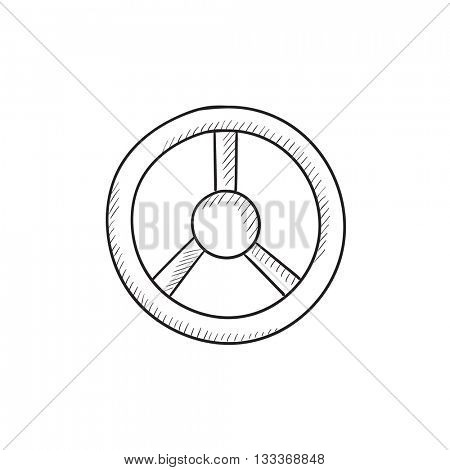 Steering wheel vector sketch icon isolated on background. Hand drawn Steering wheel icon. Steering wheel sketch icon for infographic, website or app.