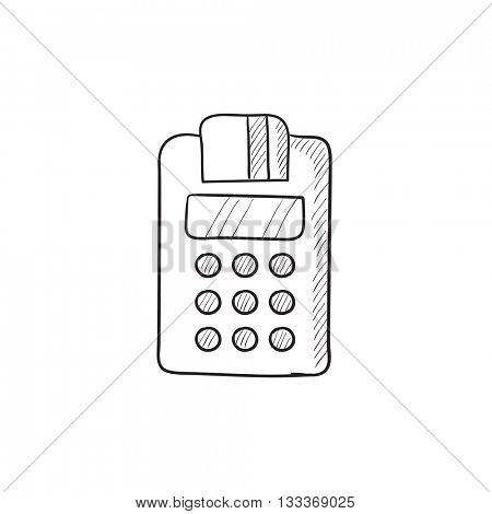 Cash register vector sketch icon isolated on background. Hand drawn Cash register icon. Cash register sketch icon for infographic, website or app.