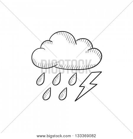 Cloud with rain and lightning bolt vector sketch icon isolated on background. Hand drawn Cloud with rain and lightning icon. Cloud with rain and lightning sketch icon for infographic, website or app.