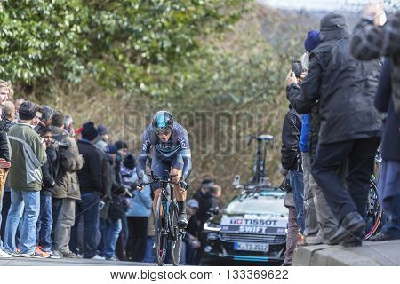 Conflans-Sainte-Honorine, France-March 6, 2016: The British cyclist Ben Swift of Team Sky riding during the prologue stage of Paris-Nice 2016.