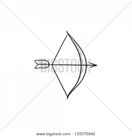Bow and arrow vector sketch icon isolated on background. Hand drawn Bow and arrow icon. Bow and arrow sketch icon for infographic, website or app.
