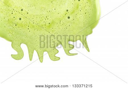 Background of close focus on melting green tea ice cream with small air bubble on surface. It melt and flow to be 'SWEET' word on white background beside of blank space on the right.