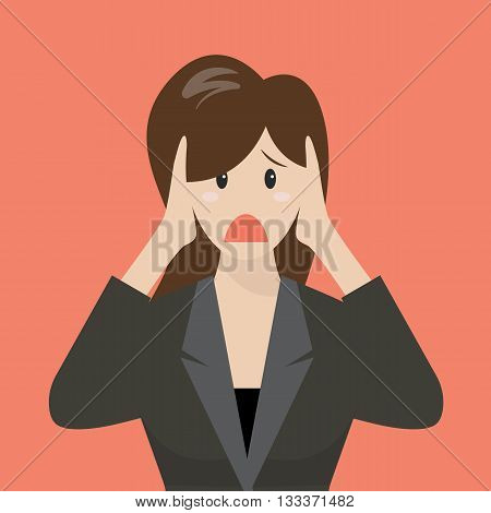 Business woman covering her ears. Business concept