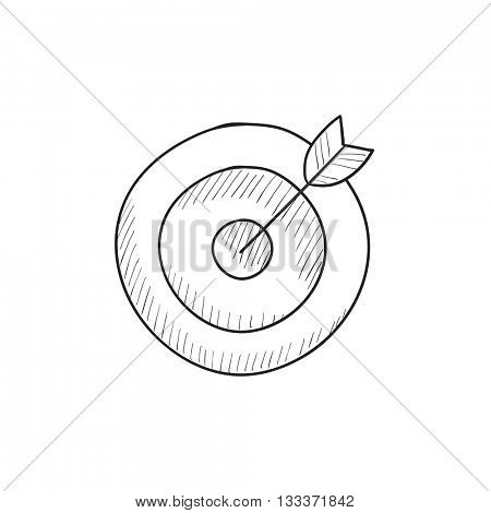 Target board and arrow vector sketch icon isolated on background. Hand drawn Target board and arrow icon. Target board and arrow sketch icon for infographic, website or app.