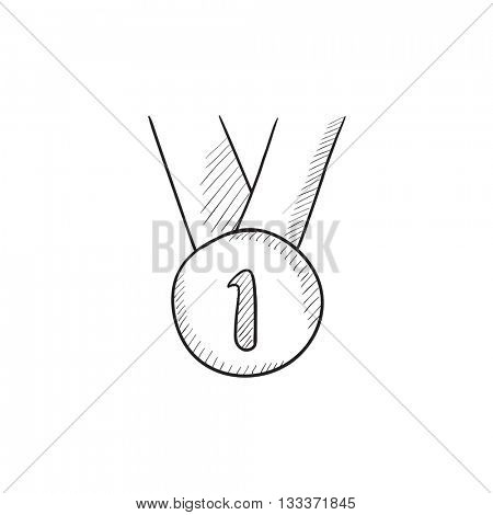 Medal for first place vector sketch icon isolated on background. Hand drawn Medal for first place icon. Medal for first place sketch icon for infographic, website or app.
