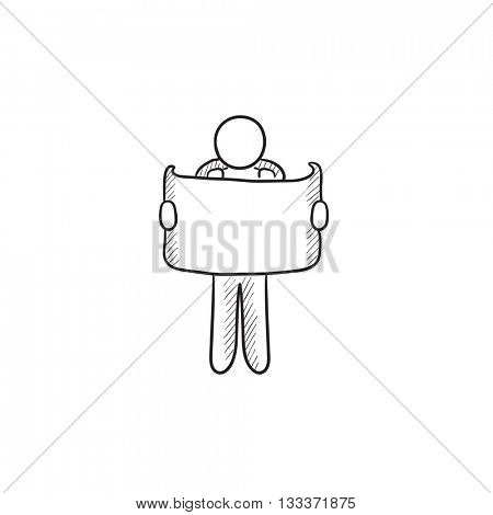Man looking at map vector sketch icon isolated on background. Hand drawn Man looking at map icon. Man looking at map sketch icon for infographic, website or app.