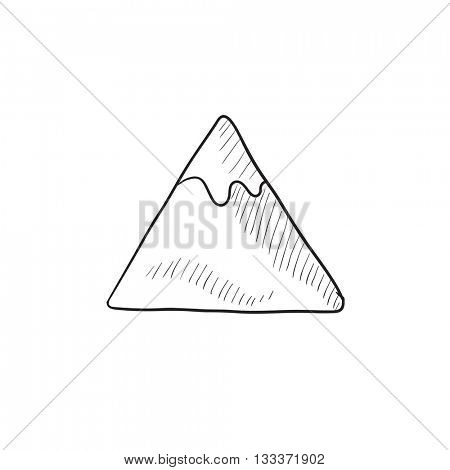 Mountain vector sketch icon isolated on background. Hand drawn Mountain icon. Mountain sketch icon for infographic, website or app.