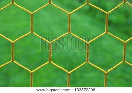 Thin Yellow Crossed Soccer Nets, Soccer Football In Goal Net With Grass