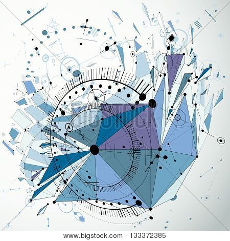 Technology 3d vector drawing with low poly demolished geometric object and wireframe blue technical backdrop. Abstract dimensional futuristic scheme of engine or engineering mechanism.