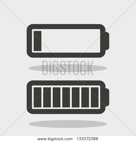 charged and discharged battery in the form of icons