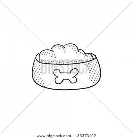 Dog bowl with food vector sketch icon isolated on background. Hand drawn Dog bowl with food icon. Dog bowl with food sketch icon for infographic, website or app.
