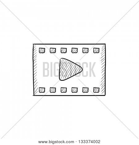 Film frame vector sketch icon isolated on background. Hand drawn Film frame icon. Film frame sketch icon for infographic, website or app.