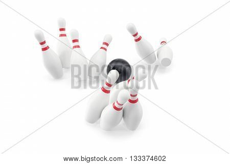 Bowling ball and skittles isolated on white background, 3d illustration