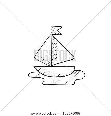 Toy model of ship vector sketch icon isolated on background. Hand drawn Toy model of ship icon. Toy model of ship sketch icon for infographic, website or app.