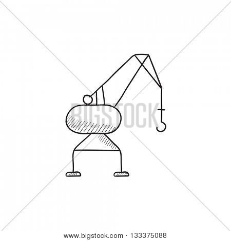 Harbor crane vector sketch icon isolated on background. Hand drawn Harbor crane icon. Harbor crane sketch icon for infographic, website or app.