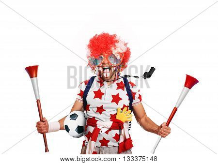 English football fan in a red wig and horns