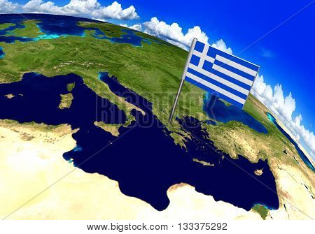 Flag marker over country of Greece on world map 3D rendering, parts of this image furnished by NASA