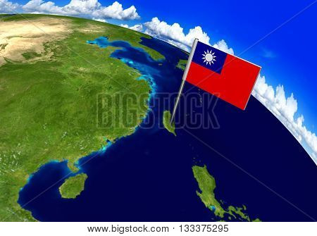 Flag marker over country of Taiwan on world map 3D rendering, parts of this image furnished by NASA