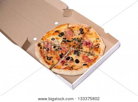 Tasty pizza with ham and olives in box, isolated on white background