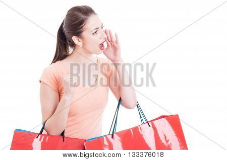 Woman Holding Shopping Bags  Shouting Or Yelling Sales Concept